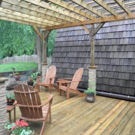 New Deck Construction with Stone Post Covers