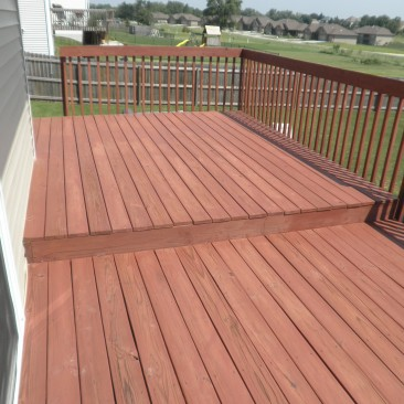 Cabot Semi-Transparent Redwood Stain on an existing Treated Deck