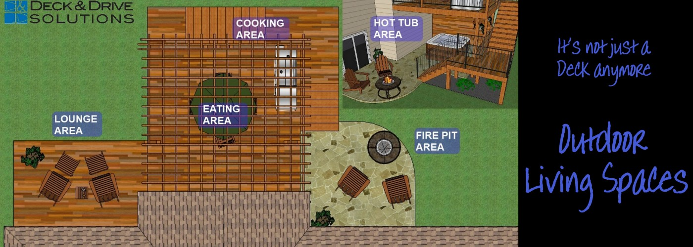 outdoor living spaces, deck spaces, deck design, deck area, eating area, lounge, fire pit, cooking area