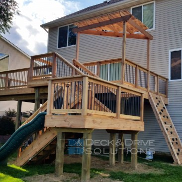 New Cedar Deck with Slide and Rock Wall