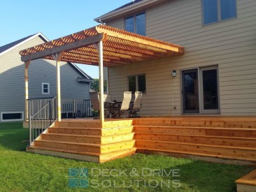 Cedar Stairs with a Deck Behind