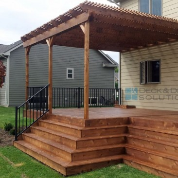Deck with Many Stairs – New Cedar Deck Sealed with Penofin Mission Brown