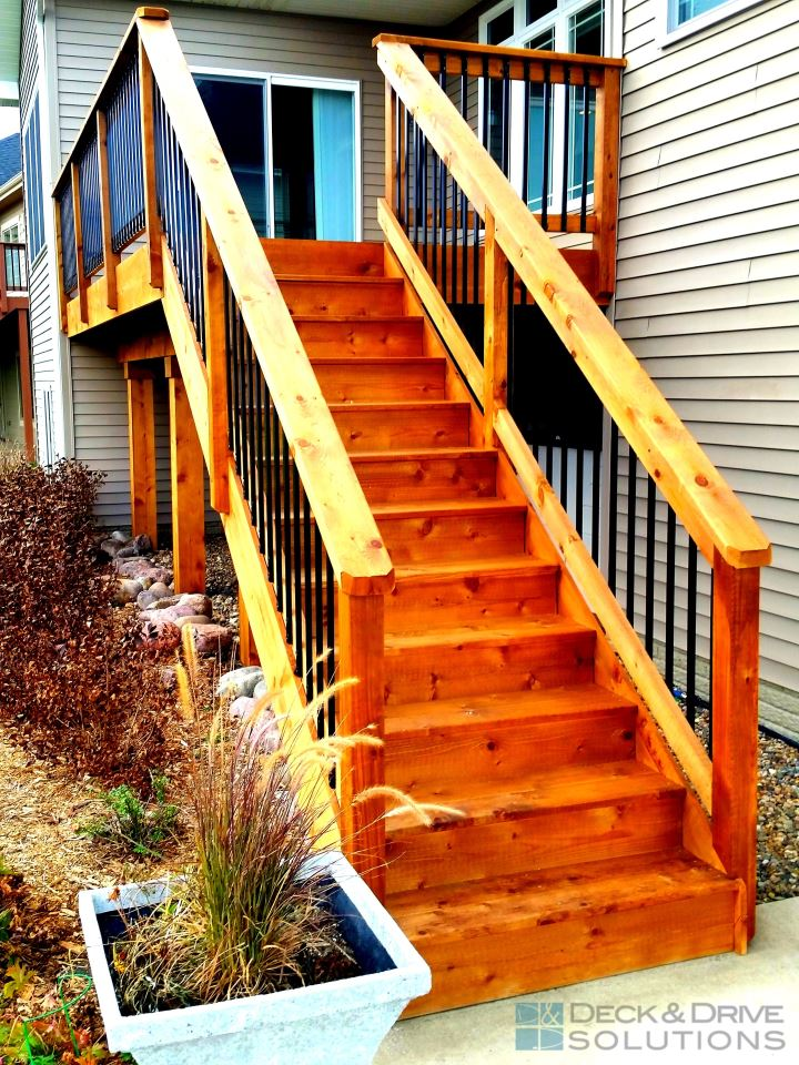Deck Stairs Design Ideas basement stair design ideas Cedar Deck Rail Stairs And Skirting Upgrade Deck And Drive