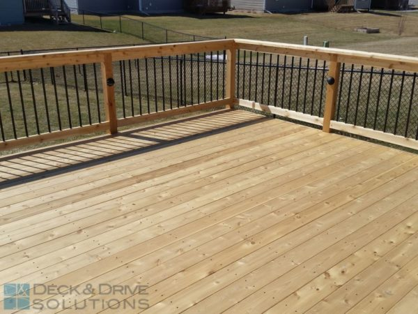 Simple Cedar Deck With Corner Stairs For Patio Expansion
