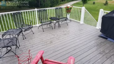 New Gray Timbertech Composite Deck with White Rail