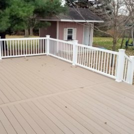 Timbertech Sandy Birch with White Timbertech Rail