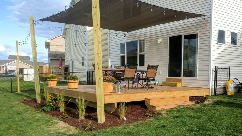 Sun Shade on New Deck | Des Moines Deck Builder - Deck and ...