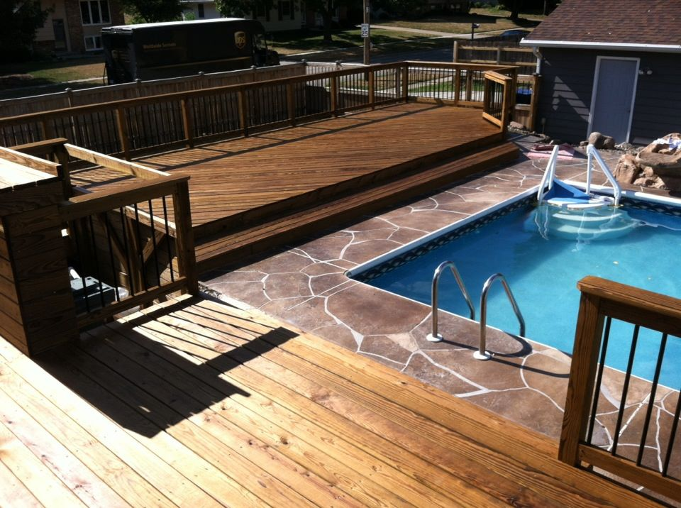 New Larger Deck With Built In Bar To Hide Pool Equipment