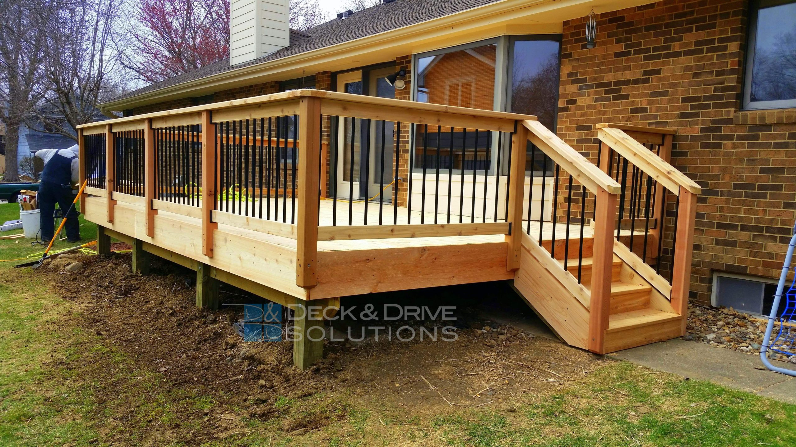 Deck Resurface with Cedar and Cedar Post Rail with Round
