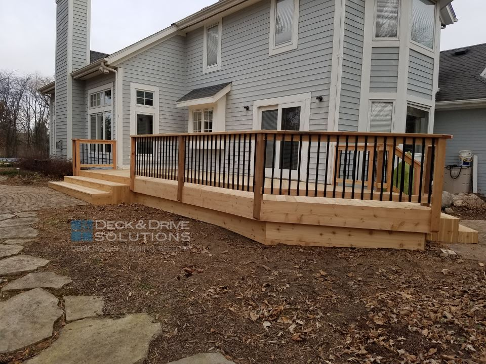 Angled Cedar Deck And Drive Solutions Iowa Deck Builder