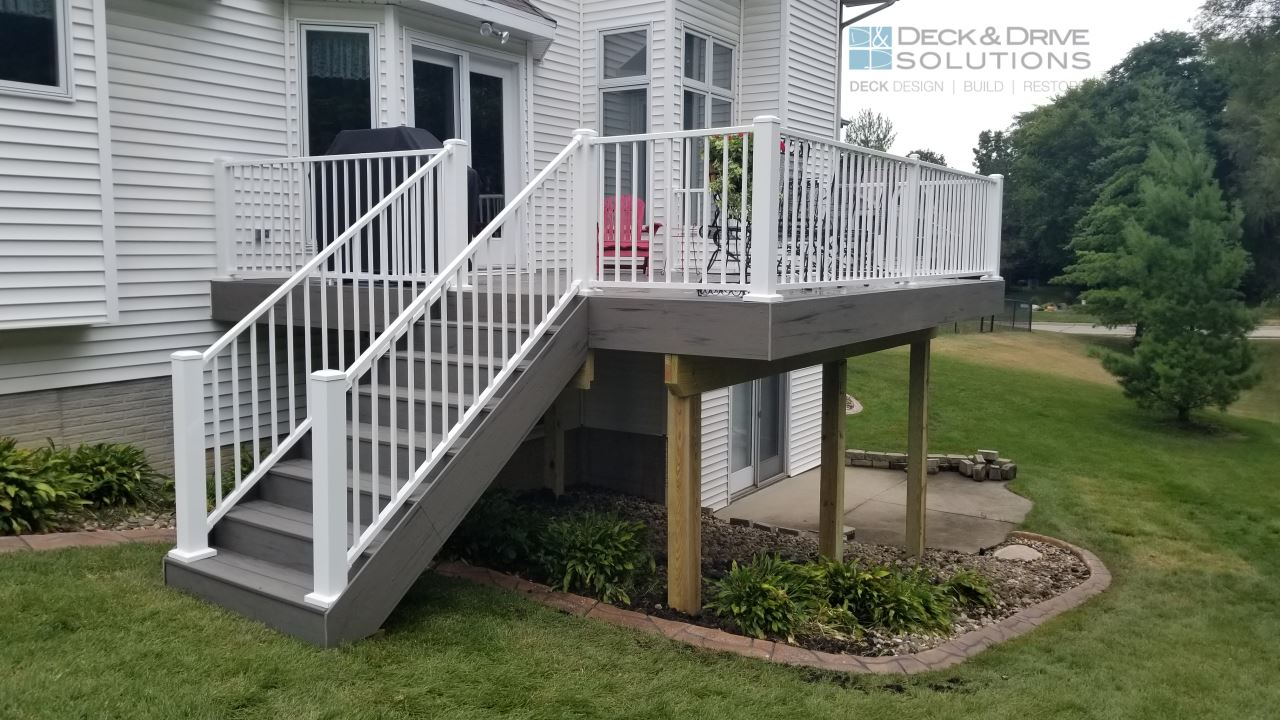 New Gray Timbertech Composite Deck With White Rail Deck And Drive Solutions Iowa Deck Builder